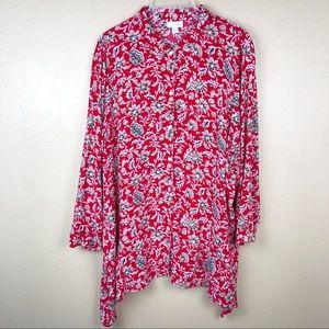 J Jill Red Floral Button Front Shirt Size XL